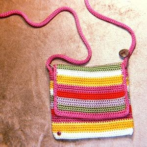 the sak hot pink rainbow woven crossbody mini bag